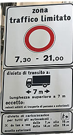 An Italian ZTL Restricted Traffic Zone Sign
