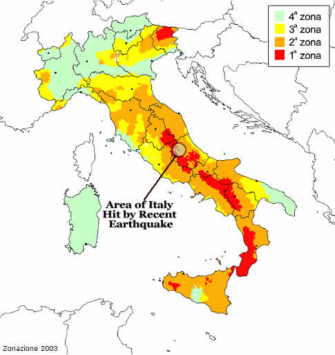 Map of Seismic Activity in Italy