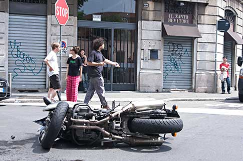 Accident in front of local Restautant, Via Aleardi, Milan, Italy