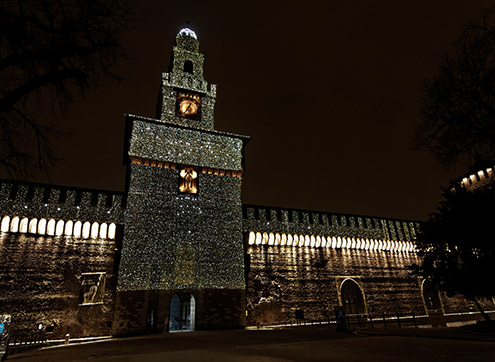 Milan's Castello by night - tower and facade - Christmas 2010
