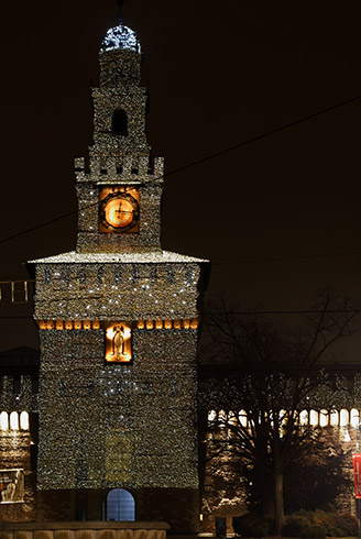 Milan's Castello by night Christmas 2010