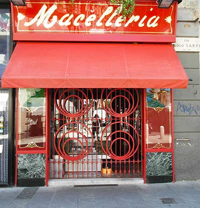 Excellent Butchers shop in Via Paolo Sarpi Milan, Italy