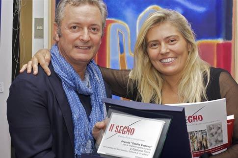 Artist Gaetano Fiore and wife Elizabetta at the Il Segno Prize Ceremony