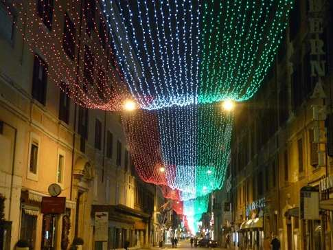 Tricolor Christmas lights in Rome, Italy