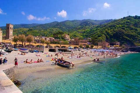 Monterosso, one of the Cinque Terre is a summer destination for northern Italians