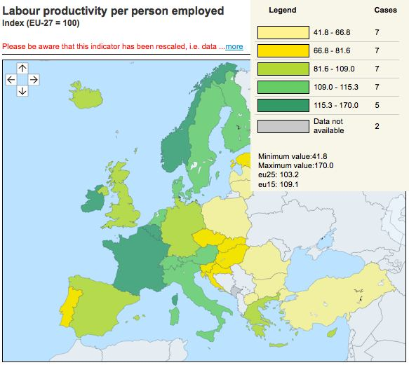Productivity in Europe - source: Eurostat