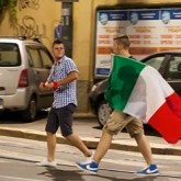 Flag Waving Italian Football Fans in Milan