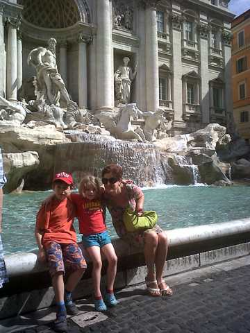 At the Trevi Fountains in Rome