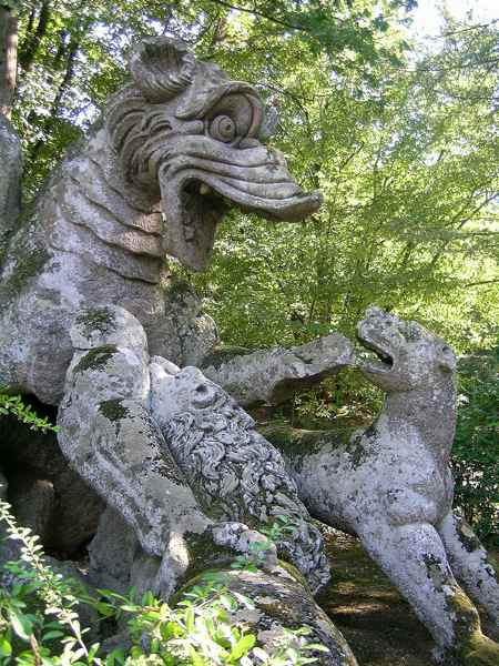 A Dragon and Lions at Bomarzo