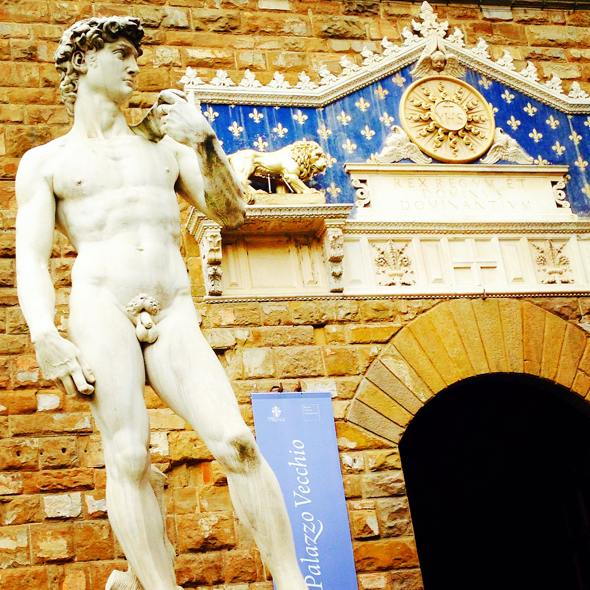 A Replica of Michelangelo's David in Florence