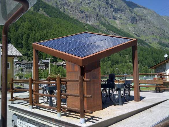 Electric bicycle hire and recharging station in the Gran Paradiso Park in Italy
