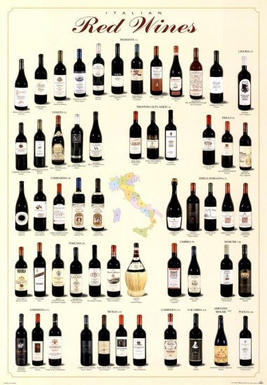 italian red wines poster