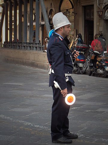 "Italian policeman with ""lollipop"""