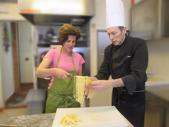 Lorenza producing fresh pasta