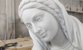 Marble Mary Sculpture