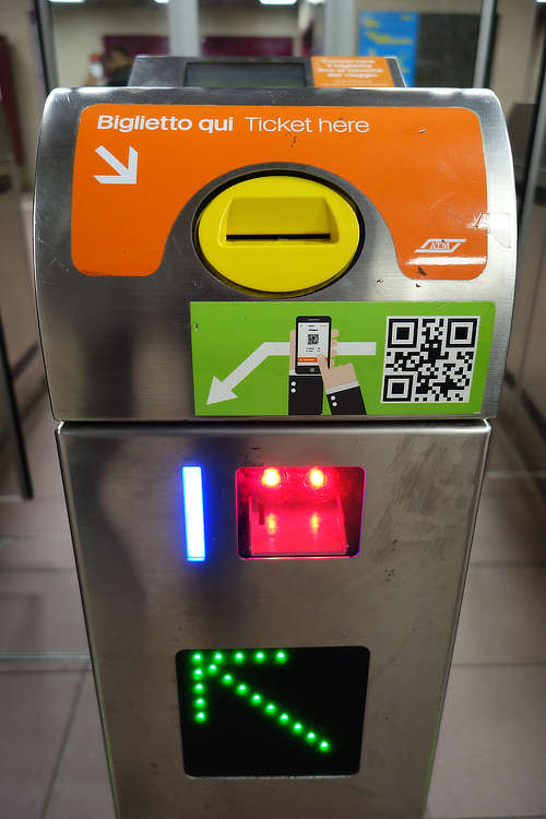 Close up of ATM Milan QR reader for electronic tickets