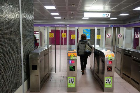Milan public transport Turnstiles with QR readers on the Lilla underground line in Milan