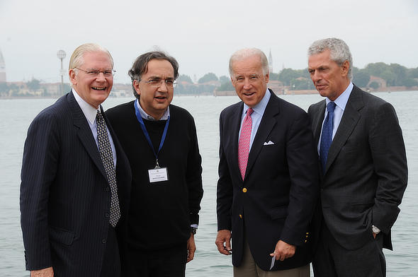 Sergio Marchionne, Marco Tronchetti Provera, David Heleniak (CONSIUSA former US president) with Joe Biden at CONSIUSA annual workshop in Venice.