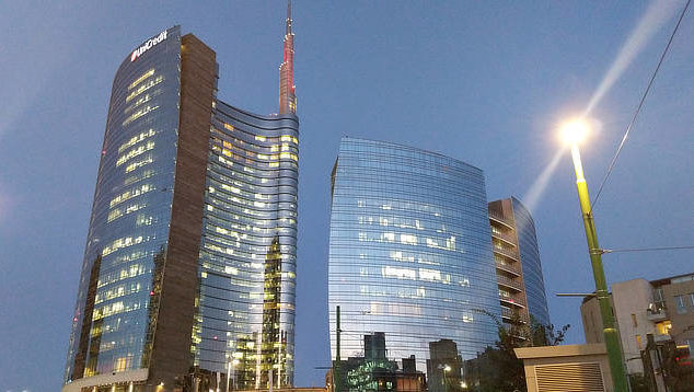 An example of Milan's architecture - The red topped UniCredit Tower